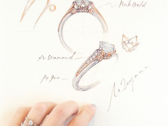 ポンヌフデザイン画(指輪、文字強調)