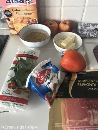 10玄米、リンゴ、モッツァレラにトマト